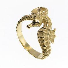 14k+White+or+Yellow+Gold+Seahorse+Ring