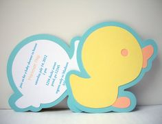 Duck Invitation Rubber Ducky Party Yellow Duck Invitation