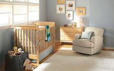 maple furniture with bluish grey walls