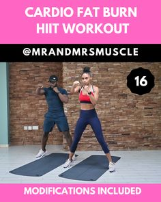 Super Sweaty Cardio Workout – HIIT with Modifications Advertisement Advertisement Save and share this super sweaty and fun cardio workout. Fitness Workouts, Hiit Workout Videos, Intense Cardio Workout, Full Body Hiit Workout, Cardio Workout At Home, Cardio Training, Gym Workout Tips, Fitness Workout For Women, Sport Fitness