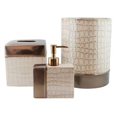 Add an elegant spark to your bathroom with a Sherry Kline bath collection. This bath accessory set is made of highly polished ceramic with crocodile pattern design in natural off-white color.