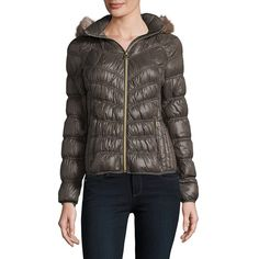 Michael Michael Kors Women's Faux Fur Trimmed Puffer Coat (3.150 CZK) ❤ liked on Polyvore featuring outerwear, coats, mocha, faux fur trim puffer coat, puffer coat, hooded fur coats, faux fur coat and hooded coat