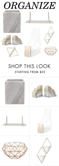 """""""Marble Organize 2017"""" by beautywithlada4ever ❤ liked on Polyvore featuring interior, interiors, interior design, home, home decor, interior decorating, Kate Spade, Umbra, Hübsch and organize"""