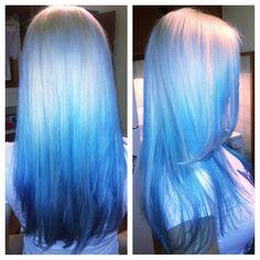 Mermaid hair. White blonde/pravana silver/pastel blue hairs on a friend! - Imgur