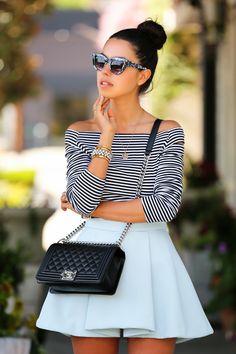 Off-shoulder Breton striped shirt, white pleated circle skater skirt