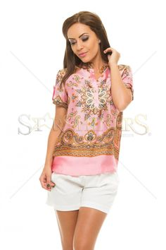 PrettyGirl Childish Pink Blouse Clothing Items, Floral Tops, Short Sleeves, Blouse, Casual, Pink, How To Wear, Outfits, Clothes