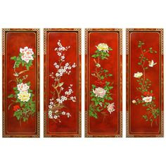 Great Flower And Birds Motif Wall Plaque