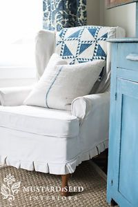 Upholstered chair-this would be perfect for the green floral FREE chair.