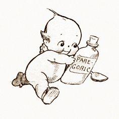 Kewpies Greeting Card Kewpie with Medicine Rose by KatyDidsCards Vintage Cards, Vintage Images, Vintage Postcards, Magazine Illustration, Get Well Cards, Cute Tattoos, Tatoos, Illustrations, Paper Dolls