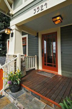 Front door with Craftsman details and a luscious red-orange color, exterior design, paint colors, color scheme