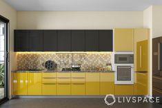 Kitchen Modular, Modern Kitchen Cabinets, Kitchen Cabinet Colors, Kitchen Cabinets Color Combination, Kitchen Laminate, Yellow Kitchen Designs, Design Your Kitchen, Interior Design Kitchen, Pantry Design