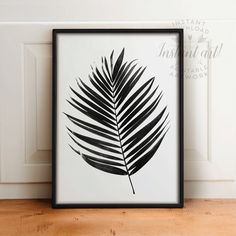 Palm leaf PRINTABLE arttropical leaf by TheCrownPrints on Etsy