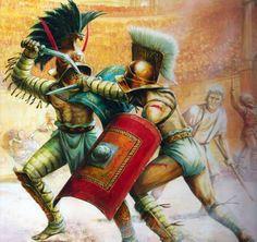 Gladiators' duel in the Colosseum