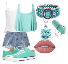 """""""cute summer outfit"""" by zombiebarbie1333 on Polyvore featuring Sans Souci, Bling Jewelry, Lime Crime and Converse"""