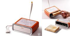 """Notepad Toaster: This toaster incorporates a little message board where one can read quick notes. You can scribe notes on the message board over the toaster, and the message gets """"toasted"""" onto the toast itself. It's creation of designer Sasha Tseng."""