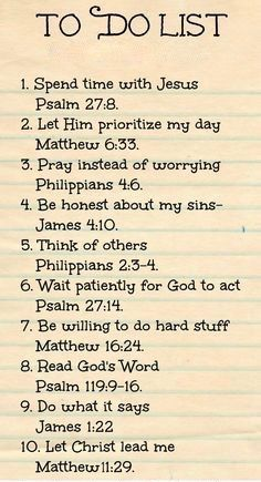 "Bible verses ""To Do List"" to faithfully reflect on ... cute idea for Women's Ministry & Ladies Bible Study."