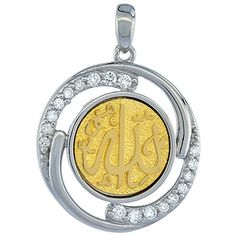 Sterling Silver ALLAH CZ Islamic Pendant Goldplated 78 inch in diameter * Continue to the product at the image link.