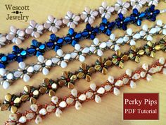 Beadweaving Pattern for Perky Pips Bracelet and Earrings with Pip Beads and SuperDuos Jewelry Patterns, Bracelet Patterns, Bracelet Designs, Beading Patterns, Beaded Jewelry, Handmade Jewelry, Beaded Bracelets, Bracelet Making, Jewelry Making