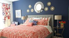 I Redid Our Master Bedroom Again! Navy and Coral Bedroom decor chick Surprise! I Redid Our Master Bedroom Again! Navy and Coral Bedroom decor chick was last modified: March… Navy Coral Bedroom, Coral Bedroom Decor, Navy Blue Bedrooms, Bedroom Orange, Gold Bedroom, Bedroom Wall, Bedroom Ideas, Bedroom Inspiration, Navy And Coral Bedding