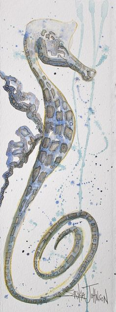 Whimsical Sea Horse Original Water Color by ErikaJohnsonGallery, $44.00