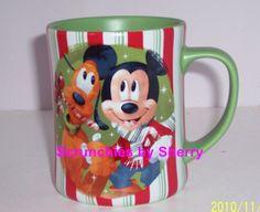 Disney Store Coffee Mug Christmas Mickey Minnie Pluto Green Candy Holiday New #DisneyStore