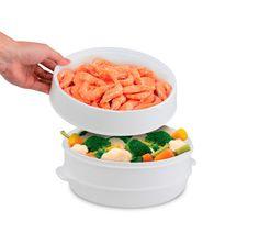 1 PCS 2 Tier Microwave Food Steamer BPA Free Cookware Steam Cooking Pot Veggies Fish Seafood Steamer As Seen On TV K112#steamer