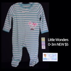Little Wonders 0-3m Infant Girls NEW W Tag Striped