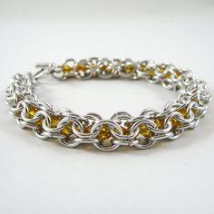 Swarovski Bracelet Chainmail  Sunflower Yellow Crystals.