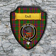 Hall Plaque with Scottish Clan Badge on Clan Tartan Background by YourCustomStuff on Etsy https://www.etsy.com/listing/528672507/hall-plaque-with-scottish-clan-badge-on