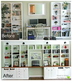 12 foot wall with book shelves | Wall-to-Wall Built-In Desk and Bookcase | Home Is Where My Heart Is ...