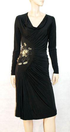 Awesome Soft Stretched Black Woman Dress  Size US 12 Brand CLASS Roberto Cavalli Abito Donna Nero Stretch Paillettes Made in Italy Taglia 48 di BeHappieWorld su Etsy