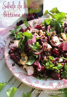L'Ecole Buissonnière: Salade de lentilles, betterave et feta. Vegan Lentil Soup, Lentil Salad, Lentil Recipes, Raw Food Recipes, Salad Recipes, Vegetarian Recipes, Cooking Recipes, Healthy Recipes, Feta Salad