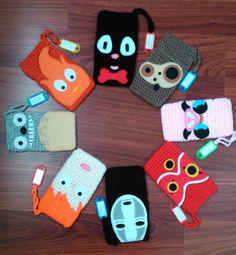 Studio Ghibli Inspired Amigurumi Phone Cases by Anaseed Crochet Laptop Case, Crochet Phone Cover, Diy Phone Pouches, Crochet Stars, Cute Crochet, Knit Crochet, Totoro, Felt Phone Cases, Studio Ghibli