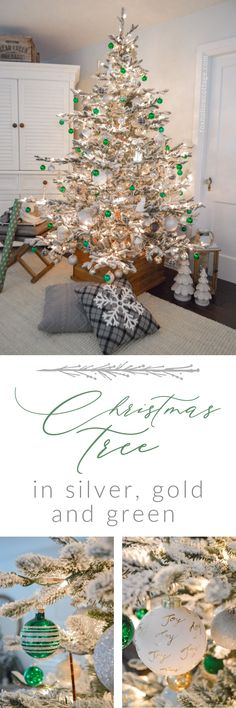 Our Silver, Gold and Green Christmas Tree - Aspen Pine Flocked Tree - Simple, affordable, low stress holiday decorating ideas at foxhollowcottage.com