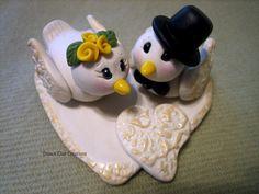 Wedding Cake Topper, Dove, Birds, White Dove, Custom Polymer Clay Birds, Flowers and Heart, Wedding or Anniversary Keepsake. $85,00, via Etsy.