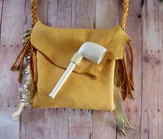 Primitive Mountain Man Gage D'Mor Tobacco Smoking Neck Bag with Clay Pipe and Tobacco Pouch Included by Miss Tudy on etsy