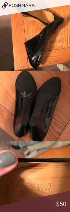 J crew wedge black shoes Beautiful wedge j crew shoes. Size 10. Barely worn. No blemishes. Classic for any time of the year. j crew Shoes Wedges