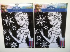 Two Disney Frozen  Elsa Velvet Coloring Sheets with Markers, New,Great Gift!! #Disney