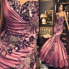 2016 Sequins Evening vestidos De Fiesta New Sexy Sweetheart Satin Applique Beading Mermaid Ruffles Flower Prom & Evening Dresses