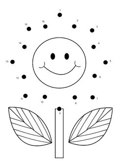 Free Online Printable Kids Games - Flower Dot To Dot