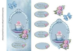 Blue Cupcake Roses DL card on Craftsuprint designed by Lorna Quinney - A pale blue background with a layered topper, embellished with roses and containing an image of a cupcake in cup and saucer. Finished off with a layered blue bow. There are six oval text plates with greetings for various occasions. - Now available for download!