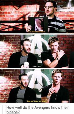 Chris Evans. Chris Hemsworth. Robert Downey Jr. Marvel. Avengers