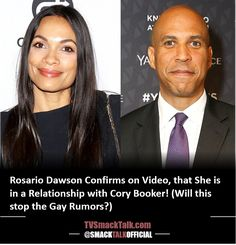 Rosario Dawson Confirms on Video, that She is in a Relationship with Cory Booker! (Will this stop the Gay Rumors?) Political Status, Politics, Cory Booker, Rosario Dawson, Black Celebrities, Celebrity Photos, Gay, Relationship, News