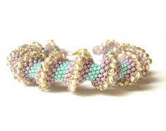 Spiral Beaded Bracelet Bead Woven Bracelet by JewelleryByJora