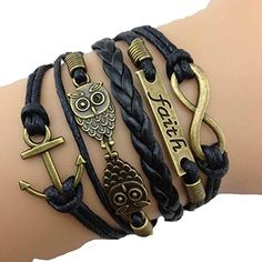 Love these new style bracelets. NEW Black Anchor Owl Faith Infinity Bracelet, Multi Wrap Bracelet, Black Leather Bracelet Cute Bracelets, Braided Bracelets, Bracelets For Men, Wrap Bracelets, Jewelry Bracelets, Black Bracelets, Infinity Bracelets, Jewlery, Infinity Jewelry