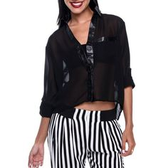 Chemisier insert cuir Insert, Urban Chic, Striped Pants, Ali, Street Wear, Blouse, Long Sleeve, Sleeves, Collection