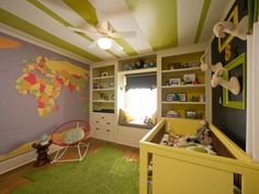 Nursery with Map Mural - love this map of the world on the wall - should be in ever kids room (I need one too)