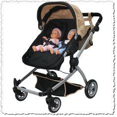Sand Doll Babyboo Deluxe Pram Stroller Swiveling Wheels Color Twin 2 1 Black Toy