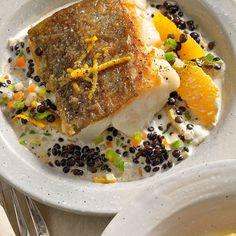 Rezept für Skreifilets auf Orangen-Sahne-Linsen | Küchengötter