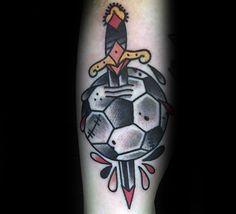 Old School Dagger Through Soccerball Mens Tattoo